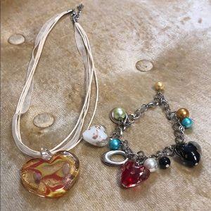 GLASS HEART PENDANT AND GLASS HEART CHARM BRACELET